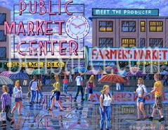 Pike place market painting rain umbrellas people sign clock
