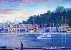 fremont lake union seattle downtown painting picture boats houseboats