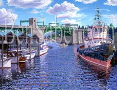 University bridge painting seattle lake union portage bay tug boat marina
