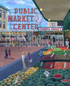 pike place market produce shops seattle painting picture