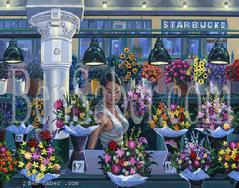 pike place market flowers painting picture interior inside