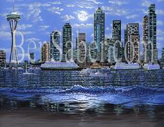 downtown seattle from alki beach night painting picture