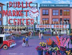 Pike place market sign painting picture flowers produce farmers
