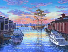 Seattle Water Front, Pier 55 & Lady Washington Painting
