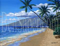 Lahaina harbor beach painting picture maui hawaii
