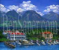 Lahaina town aerial picture painting west Maui mountains harbor old courthouse pioneer inn hotel plantation sugar cane