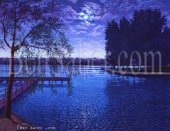 greenlake green lake park painting picture night moon seattle dock trail