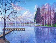 greenlake painting green lake seattle winter original