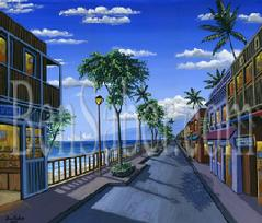 Front street lahaina shops sidewalk painting picture maui hawaii