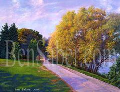 greenlake painting path golf fall course green lake art