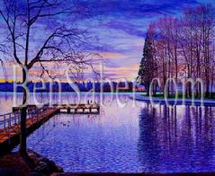 Greenlake painting picture green lake seattle winter dock trail image