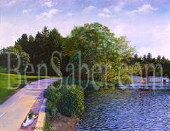 greenlake painting path seattle golf course green lake picture art
