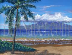 Painting# 508 Lanai Island from Lahaina Park near 505. Original acrylic painting on canvas stretched 18x24 inches.