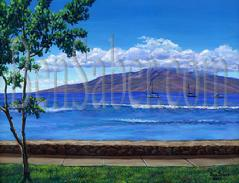 Painting #509 Lanai Island From Lahaina Harbor. Original acrylic painting on canvas 18x24 inches stretched