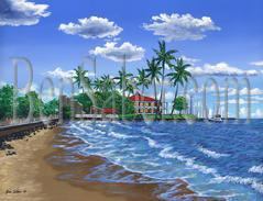 Painting #563 Front Street Beach, Lahaina, Maui. Original acrylic painting on canvas 18x24 inches stretched