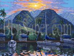 Painting # 564 Lahaina Harbor at Sunrise, Maui Hawaii. Original acrylic painting on canvas 18x24 inches stretched