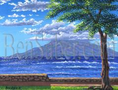 Painting #191 Lanai Island from Lahaina. Original acrylic painting on canvas board 16x20 inches