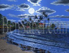 Painting #525 Lahaina town beach, Maui Hawaii. Original acrylic painting on canvas 18x24 inches stretched