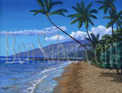 Painting #511 Molokai and Lahaina Harbor From Beach. Original acrylic painting on canvas 18x24 inches stretched
