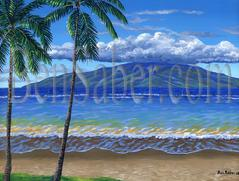 Painting #528 Lanai Island From Lahaina Beach. Original acrylic on canvas 18x24 inches stretched