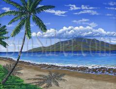 Painting #559 Lahaina beach in the morning. Maui, Hawaii. Original acrylic painting on canvas 18x24 inches stretched