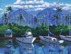 Painting #562 Lahaina Harbor. Original acrylic painting on canvas 18x24 inches stretched
