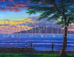 Painting #182 Lahaina Harbor and The Island of Lanai After Sunset. Original acrylic painting on Canvas board 16x20 inches.