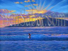 Painting #515 Lahaina Harbor Surfer. Original acrylic painting on canvas 18x24 inches stretched and ready to hang. This is a view from Lahaina Harbor in Maui Hawaii, looking at the island of Lanai at sunset. This location is a favorite spot for local surfers.