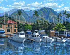 Lahaina Harbor Boats painting