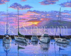 Lanai Hawaii Sunset Harbor Lahaina Painting