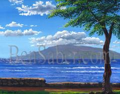 Painting #180 Lahaina Harbor and the Island of Lanai in the Morning. Original acrylic painting on canvas board 16x20 inches.