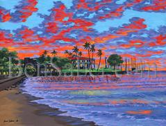 Painting #535 Downtown Lahaina Beach and Harbor. Original acrylic painting on canvas 18x24 inches stretched