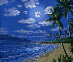 Kapalua Beach Moon painting picture maui hawaii