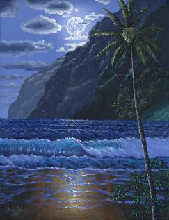 Hawaiian Beach Moon Painting