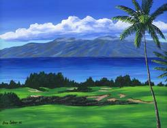 Kapalua Plantation Golf Course Painting Picture Maui Hawaii