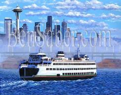 Seattle ferry skyline downtown painting picture