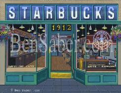 first starbucks store cafe coffee house seattle painting picture
