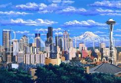 downtown seattle from queen anne park mt rainier space needle painting picture