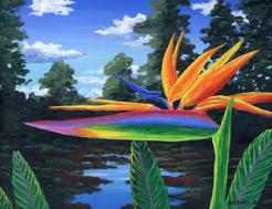Bird of paradise Flower painting