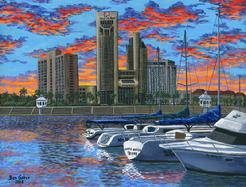 corpus christi marina water front first national bank boat marina sidewalk painting picture sunset