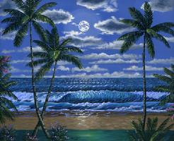 Hawaiian beach moon painting picture image
