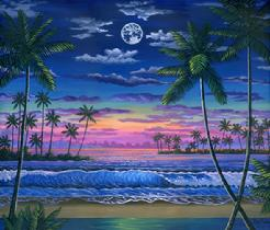 Hawaii beach sunset painting palm tree wave ocean