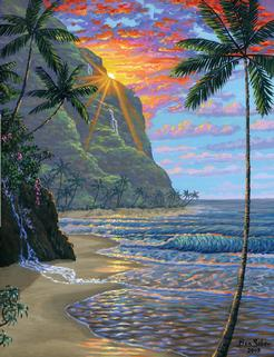 tropical beach sunset mountains painting picture