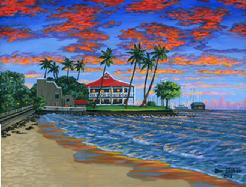 Lahaina Beach sunset painting picture Maui Hawaii
