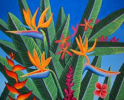 Tropical Flowers painting picture hawaii bird of paradise