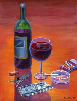 Wine Cigarettes Painting