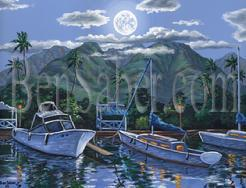 Painting #565 Lahaina Harbor Moon. Original acrylic painting on canvas 18x24 inches