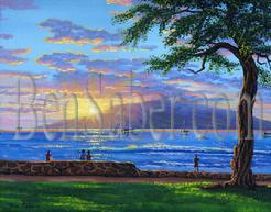 #181 Lahaina Harbor and The Island of Lanai at Sunset. Original acrylic painting on canvas board 16x20 inches