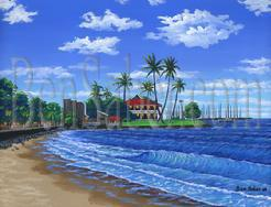 Painting #549 Front Street Beach, Lahaina, Maui, Hawaii. Original acrylic painting on canvas 18x24 inches stretched