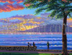 Painting #188 Lanai Island from Lahaina Harbor. Original acrylic painting on canvas board 16x20 inches.